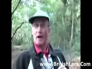 Mature british woman picks up hiker and gets dressed in stockings and pvc