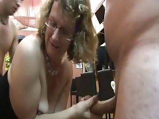 French mature teacher Francoise in the sauna