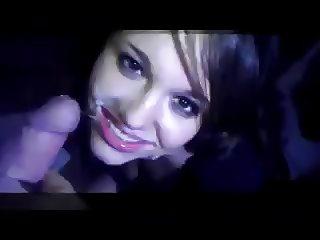 Teen Girl takes three facials at club