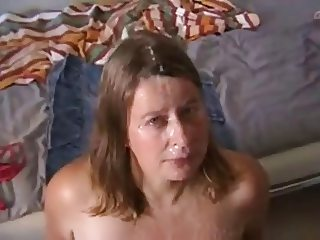 White wife receive sperm of two cock on face