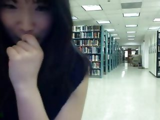 Asian girl getting naked on webcam in public library pt. 2