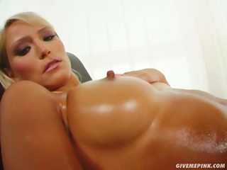 Give Me Pink Leticia oils up and puts love balls and dildo in her pussy