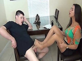 Real Estate Agent Jen Capone giving Footjob