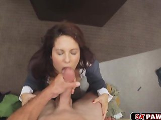 Milf needs money and goes down on her knees