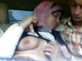 Egyptian Girl With Her Friend In Car Spycam