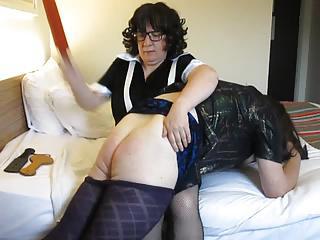 French Maid Gives Transvestite A Hard OTK Spanking