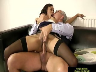 Young british slut giving bj to old sir