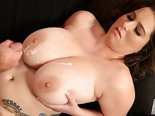 cumshot on big boobs alana lace