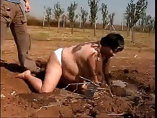 Fat mature fucks in the mud for food