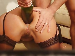 Brutal Anal Fucking with Bottle