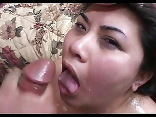 Chunky Asian Tyung's Shaved Snatched Greedily Takes Cocks