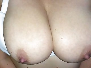 Huge cumshot on big tits (slow motion)