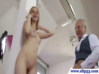 Blonde schoolgirl nailed by old dude