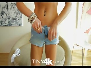 T4K Petite blonde swallows and takes huge cock in 4K