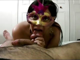 Masked latina sextape, blowjob, titjob, fuck - Homemade