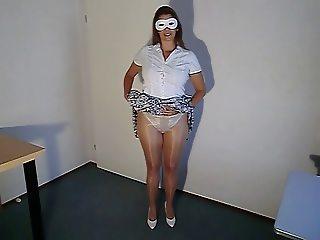 Shinny Pantyhose Upskirt Tease