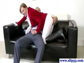 Amateur horse girl drools old guys cock