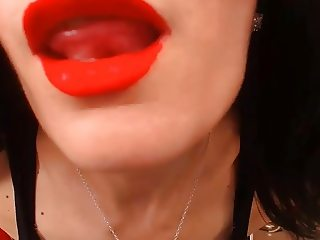 Milf with Spit Swirling Red Lips