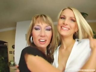 Sperm Swap Mini skirt blondes get stuffed with cum