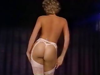 Blonde teacher strips on stage