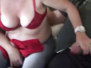 Red Bra Handjob Cumshot