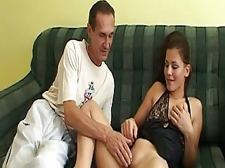 Old man drills beautiful babe on couch