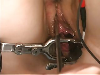 Cute perky tit brunette girl loves speculum play with electro sex toys