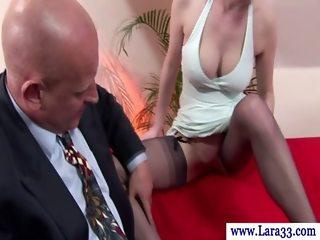 Classy british MILF giving blowjob