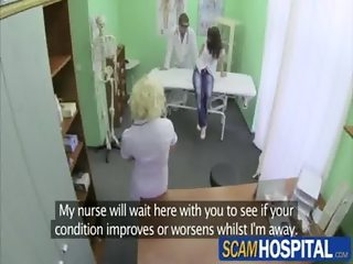 Gorgeous hot patient gets a hot and wild massage in the table by the pervy nurse