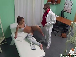 Brown haired amateur fucked in fake hospital