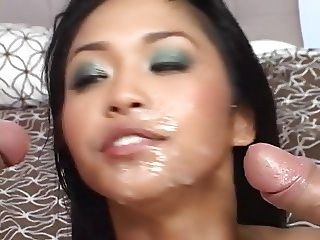 Mika Tan in thigh boots gets it from both sides