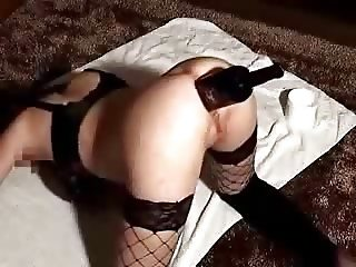 Deep fucking asshole of my bitch with wine bottle. Amateur