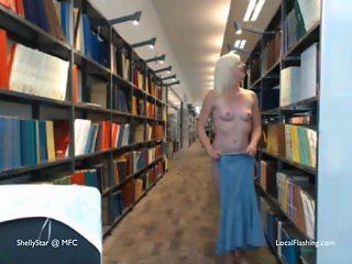 Naked cartwheel at public library