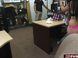Horny Cuban babe goes in the pawn shop and fu