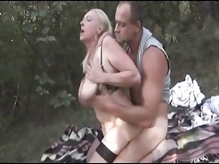 Blonde Granny forest Fuck