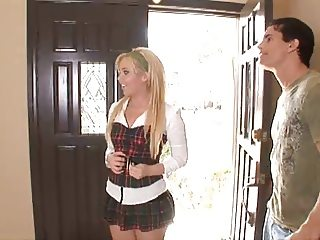 Pretty young blonde well done in all holes!