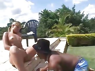 Hot Tan Blonde fucks a crazy Black Midget