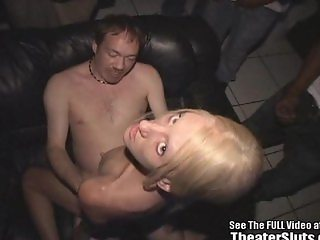 Skinny Blonde Wild Freak Fucked in Theater!
