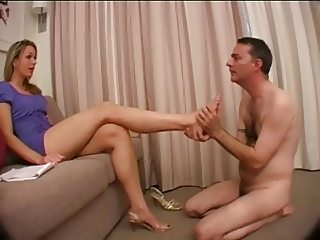 Sub licks feet & pussy