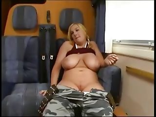 A Norwegian with big tits gets fucked in the train