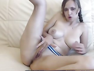 Busty pigtails fingering pussy