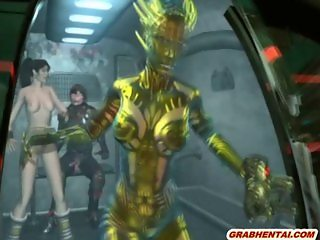 3d animation girl threesome fucked