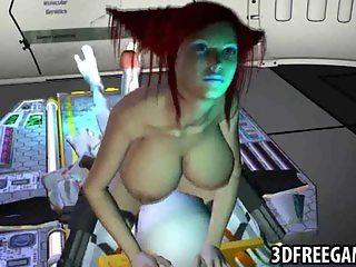 3D redhead sucks an alien cock