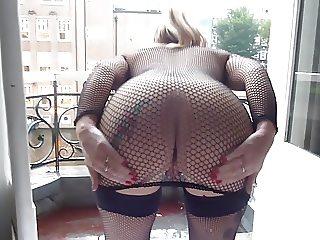 Slut in fishnets flashing