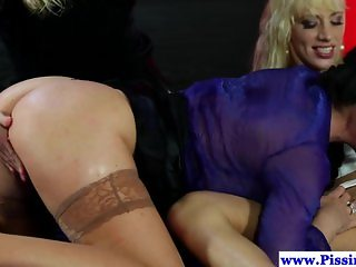 Piss loving milf and blonde twins fuck