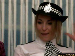 Rough femdom police babes wanking dude