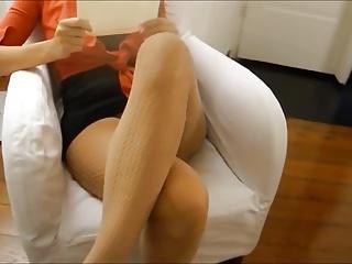 Wife upskirt, sexy legs, no panties.