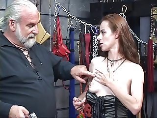 Tattooed Navaho chick with nice tits is electrocuted and shocked in dungeon