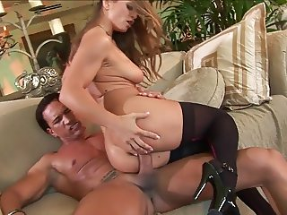 Blonde bitch in stockings takes it in the ass