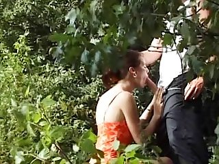 Couple Seduce Older Stranger in Woods